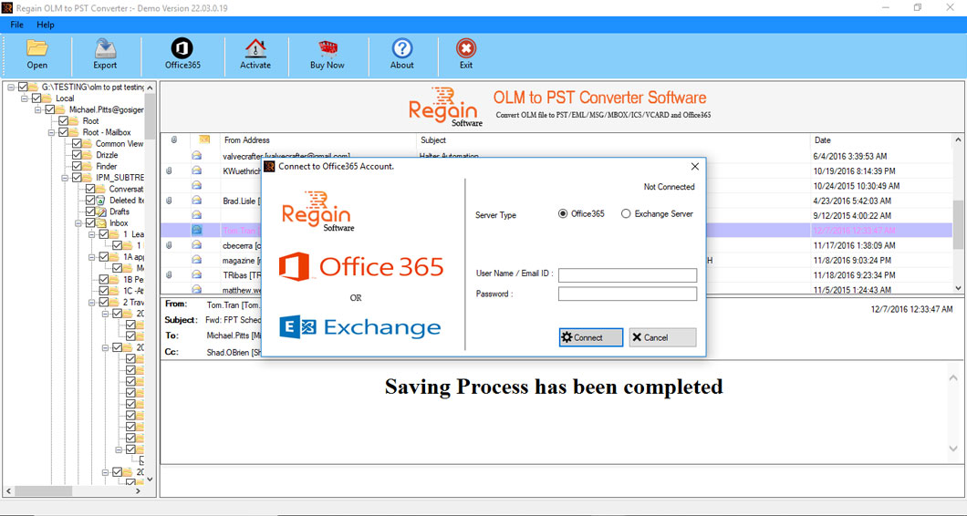 Export OLM files to Office 365 account in just few clicks