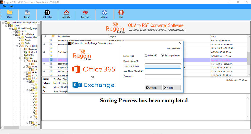 Allow user to migrate OLM file to Live Exchange Server